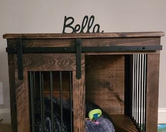 Single Door Kennel handmade wooden dog crate furniture end table