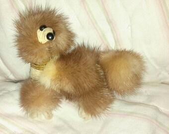 Adorable vintage Mink dog  brooch