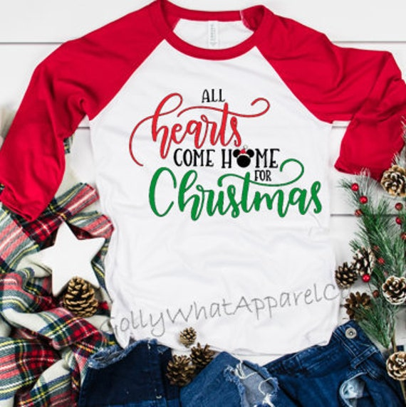 Disney Christmas Shirt Designs.Disney Christmas Shirt Hearts Come Home For Christmas Disney Vacation Shirt Disney Family Disney Kids Shirt Mickey S Very Merry Christmas