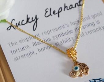 Lucky elephant necklace | gold, necklace, boho necklace, bohemian, evil eye necklace, minimalist jewelry, jewelry card, necklace card