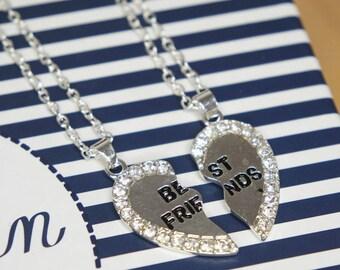 Friendship necklace | best friend necklace, necklace set, split heart necklace, minimalist jewelry, jewelry card, necklace card, gift,