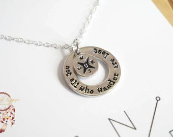 Wanderlust necklace | silver necklace, compass necklace, travel, bohemian necklace, minimalist jewelry, jewelry card, necklace card, gypsy