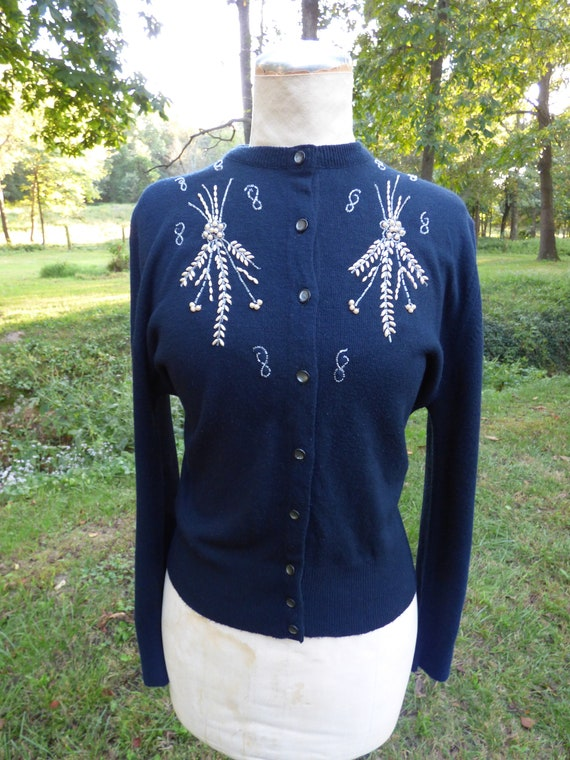 Vintage 1950's Beaded Sweater Cardigan Black with