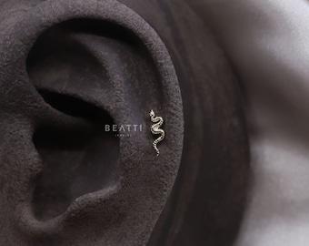 NEW ‣ Tiny Snake Cartilage Earring • Snake Tragus  • Snake Conch Earring • Snake Tragus • Helix • Tiny Snake Studs