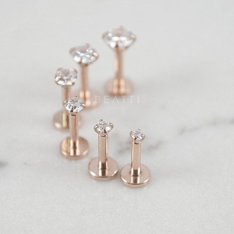 16G Tiny 1.5mm  4mm Rose Gold Tragus stud / Cartilage image 1