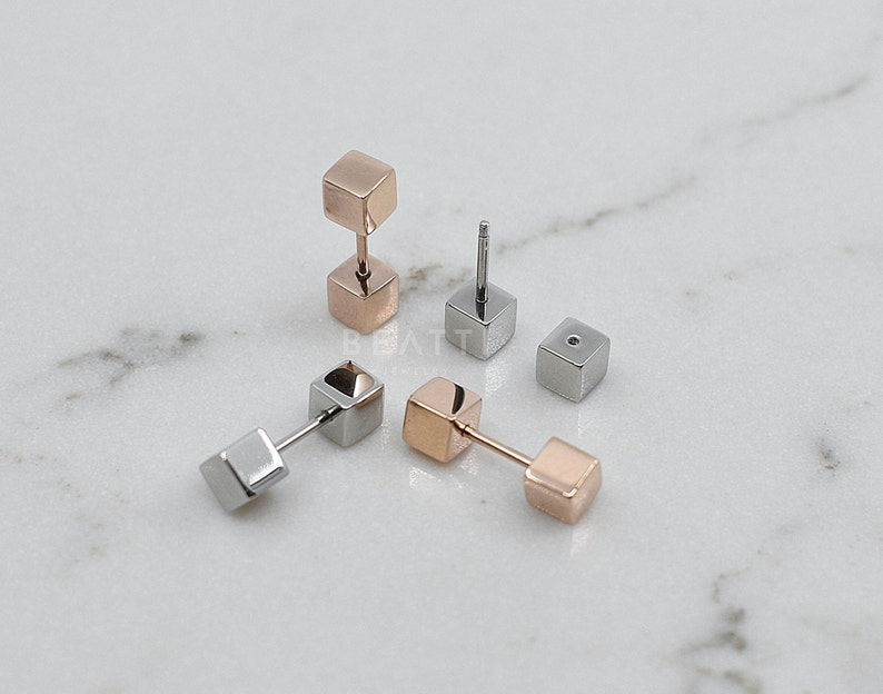 Cube Barbell Hypoallergenic Earring Minimal Earring NEW \u2023 20g Surgical Steel Cube Barbell Studs Everyday Wear Earstud Cartilage Stud