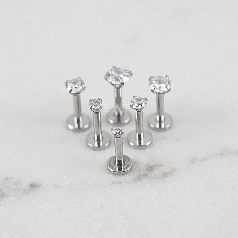 16g Tiny 1 5mm 4mm Stud Tragus Earring Labret Studs Flat Back Cartilage Earring Tragus Stud Internal Thread Lip Studs Monroe