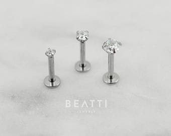 Tiny 2mm/3mm/4mm CZ stud Tragus Earring/Labret/Flat Back/Cartilage earring/Tragus stud/Internal thread/Helix/conch/Lip rings/Monroe/