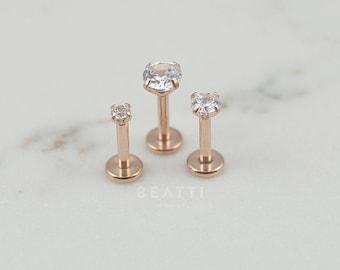Rose gold CZ stud Tragus Earring/2mm/3mm/4mm/Labret/Cartilage earring/Tragus stud/Internal thread/Lip rings/Monroe/Forward helix