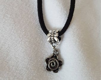 Made to Order: Silver Rose Pendant on a Black or Brown Cord Necklace