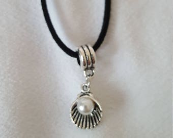 Made to Order: Silver Sea Shell Pendant on a Black or Brown Cord Necklace