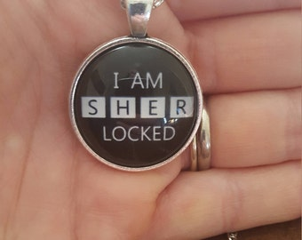 "Sherlock Holmes ""I AM SHER LOCKED"" Dome Pendant Cabochon Tibetan Necklace"