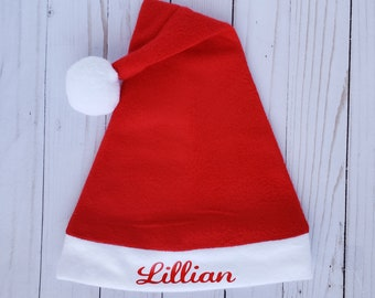 6fc8d6c5047a9 Baby toddler kids custom fit fleece Santa hat Christmas holiday  personalized tailored