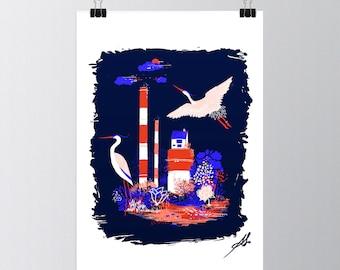 THE HERON WALKS - Poster - 30x40 cm