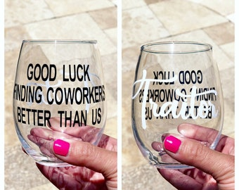 Coworker Leaving Glass Farewell Work Friend New Job Funny Colleague Gift Goodbye