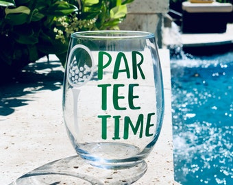 PAR TEE TIME Golf wine glass / golf whiskey glass/ custom golf glass