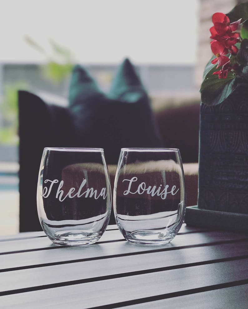 cef2e659f1a Thelma and Louise stemless wine glasses/ etched glasses/ | Etsy