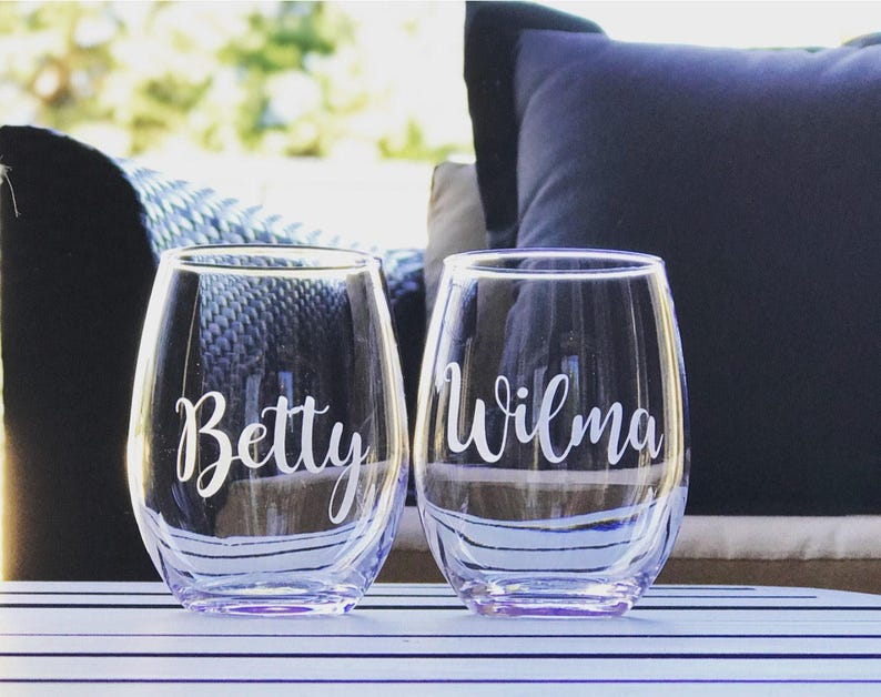 de964434496 Betty and Wilma stemless wine glass set best friend glasses | Etsy