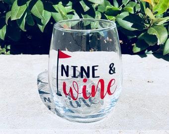Nine and wine golf wine glass/ nine and whiskey golf glass/ golf gift
