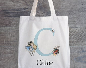 Tote Bag  Alice in Wonderland  White Rabbit blowing his trumpet Tote Bag  Shopping Bag  Market Bag  Grocery Bag  Mother/'s Day Gift