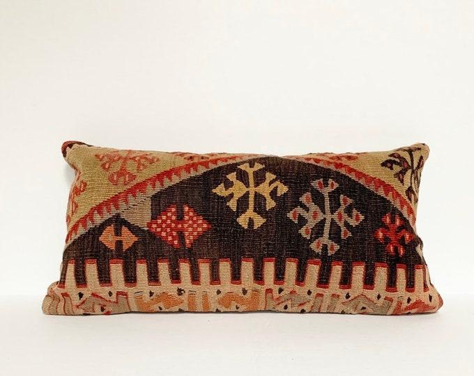 "Vintage Turkish Rug Pillow - 10"" x 20"" Lumbar  |  Charcoal and Colorful Pastel Pillow  |  Kilim  Rug Pillow"