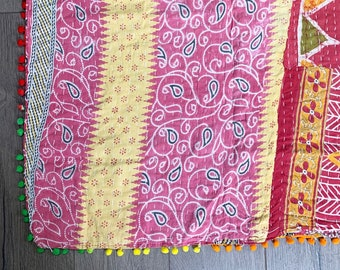 Vintage Indian Kantha Quilt with Pom Poms |  No. 1