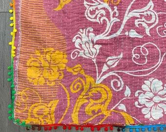Vintage Indian Kantha Quilt with Pom Poms |  No. 3