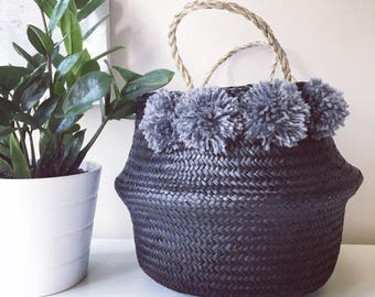 Seagrass Pom Pom Baskets - Black