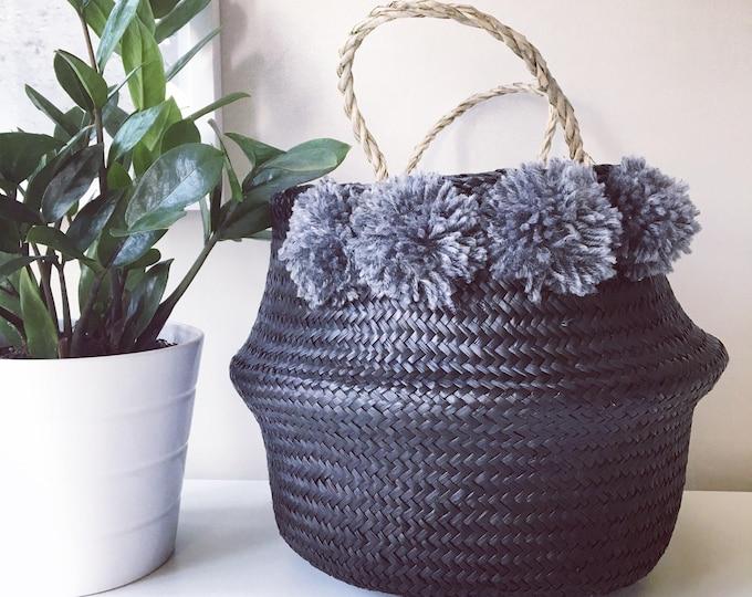 Seagrass Pom Pom Baskets - Black
