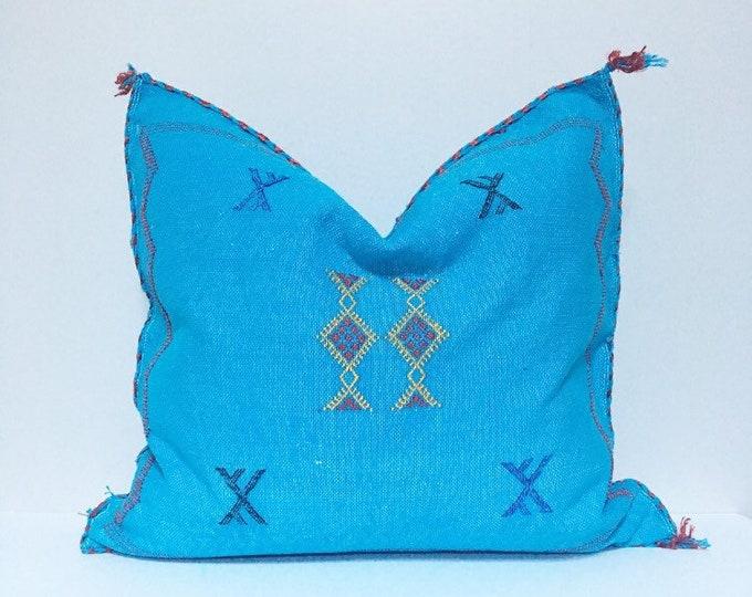 Vintage Sabra Silk Pillow no. 22  - Turquoise     18 x 18     Moroccan Cactus Silk