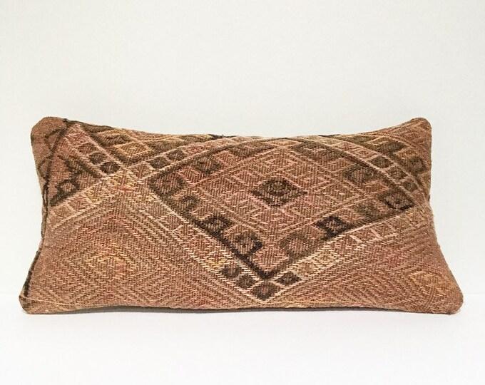Vintage Turkish Rug Pillow no. 65 |  10 x 20  |  Lumbar  |  Turkish Kilim Pillow
