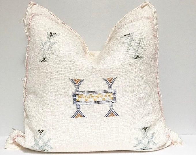 Vintage Sabra Silk Pillow - White    18 x 18 pillow     Moroccan Cactus Silk Pillow
