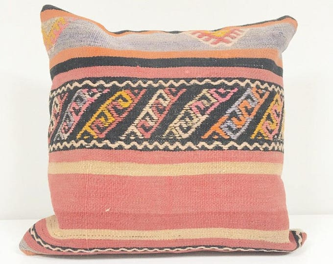 Vintage Turkish Kilim Rug Pillow no. 16 (16 x 16 Square)