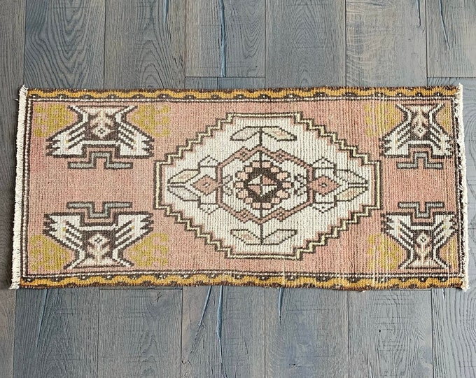 "Small Vintage Turkish Rug  - 3'5"" x 1'7"""