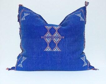 Vintage Sabra Silk Pillow no. 19  - Indigo Blue  |  18 x 18  |  Moroccan Cactus Silk