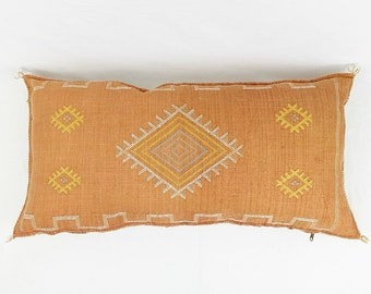"""Large Burnt Orange Lumbar Cactus Silk Pillow  - 18"""" X 36"""""""