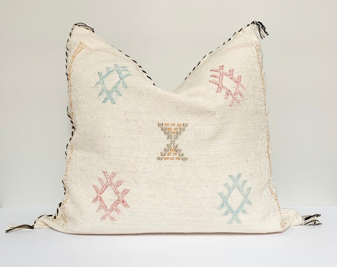 "Vintage Sabra Silk Pillow - White  |  18"" x 18""  