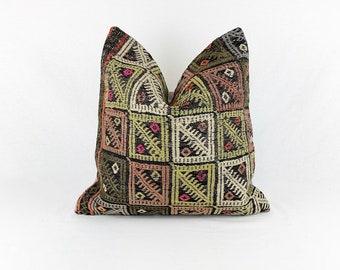 Square Vintage Rug Pillow - 18 x 18