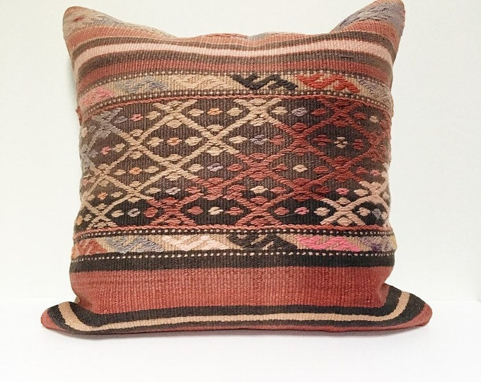 Large Vintage Turkish Rug Pillow no. 68  |  22 x 22  |  Square  |  Turkish Kilim