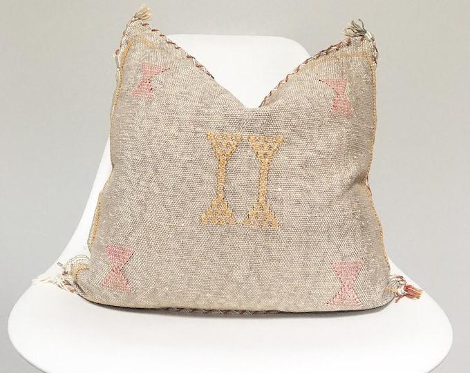 Vintage Faded Grey Sabra Silk Pillow no.25     18 x 18     Moroccan Cactus Silk Pillow