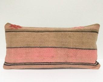 Vintage Turkish Rug Pillow no. 51  |  10x20  Lumbar  |  Kilim Rug Pillow