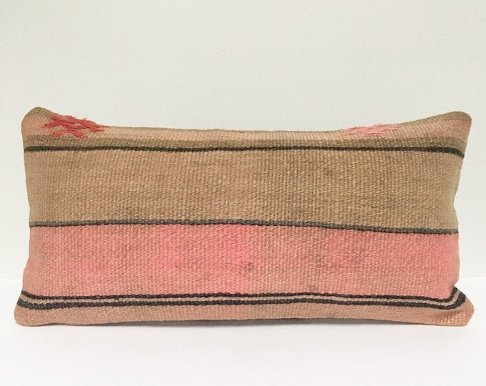 Vintage Turkish Rug Pillow no. 51  |  10x20  Lumbar  |  Kilim Rug Pillow