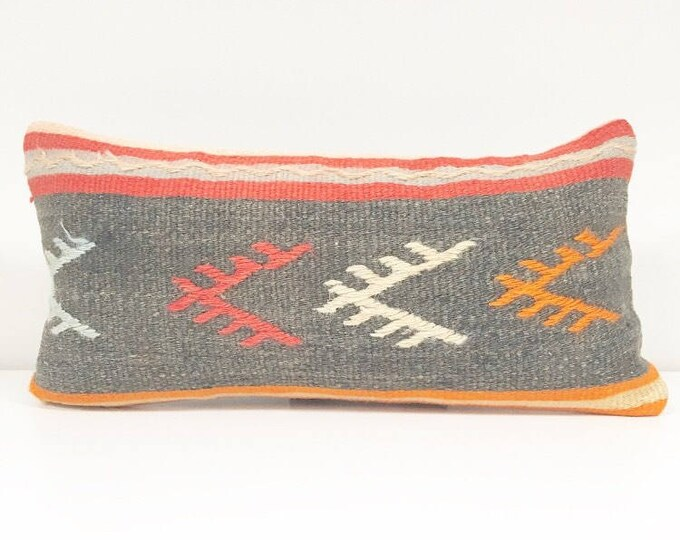 Vintage Turkish Kilim Rug Pillow no. 18 (10 x 20 Lumbar)