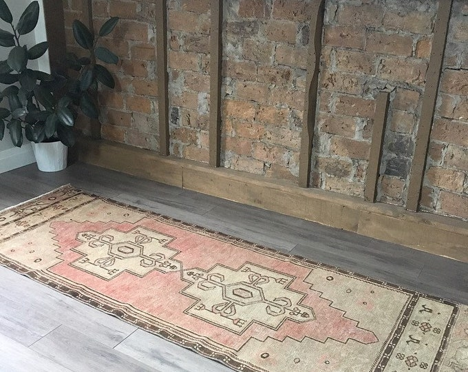 Vintage Turkish Runner Rug - 8.2 x 2.8  |  Vintage Turkish Oushak Rug |  Blush Pink Runner