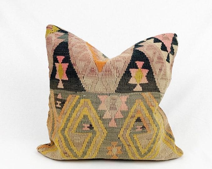"20"" x 20"" - Vintage Turkish Rug Pillow no. 103  |  Turkish Kilim Pillow  |  Pastel Square Pillow"