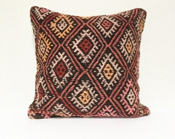 Vintage Turkish Rug Pillow no. 61  |  16 x 16  |  Turkish Kilim Pillow |  Square