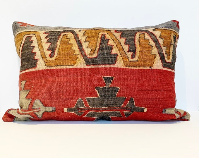 "Vintage Turkish Rug Pillow - 16"" x 24""  
