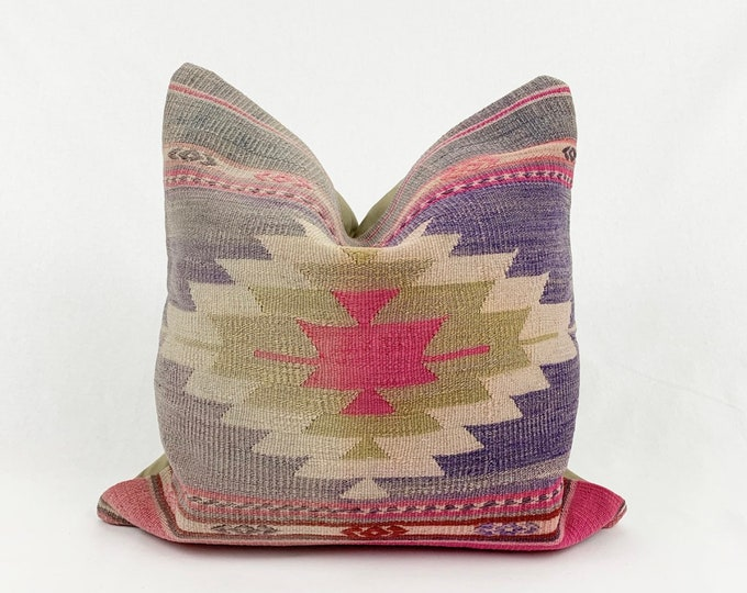 "20"" x 20"" - Vintage Turkish Rug Pillow no. 100  |  Turkish Kilim Pillow  |  Pastel Square Pillow"