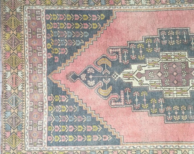 7.0 x 4.0  - Vintage Turkish Rug  |  Blush and Faded Pastels  |  Pink Rug |  Heritage Rug