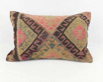 Large Vintage Turkish Rug Pillow - Lumbar    16 x 24 Large Lumbar Pillow    Kilim Pillow     Pink and Brown Lumbar Pillow